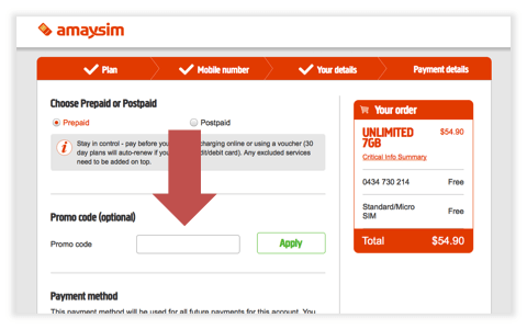 How to add an Amaysim Promo Code
